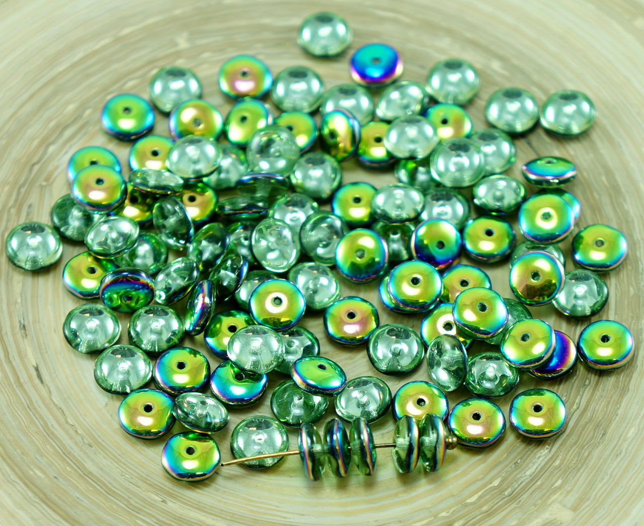 60pcs czech glass disc beads solo flat disk spacer one for Glass discs for crafts