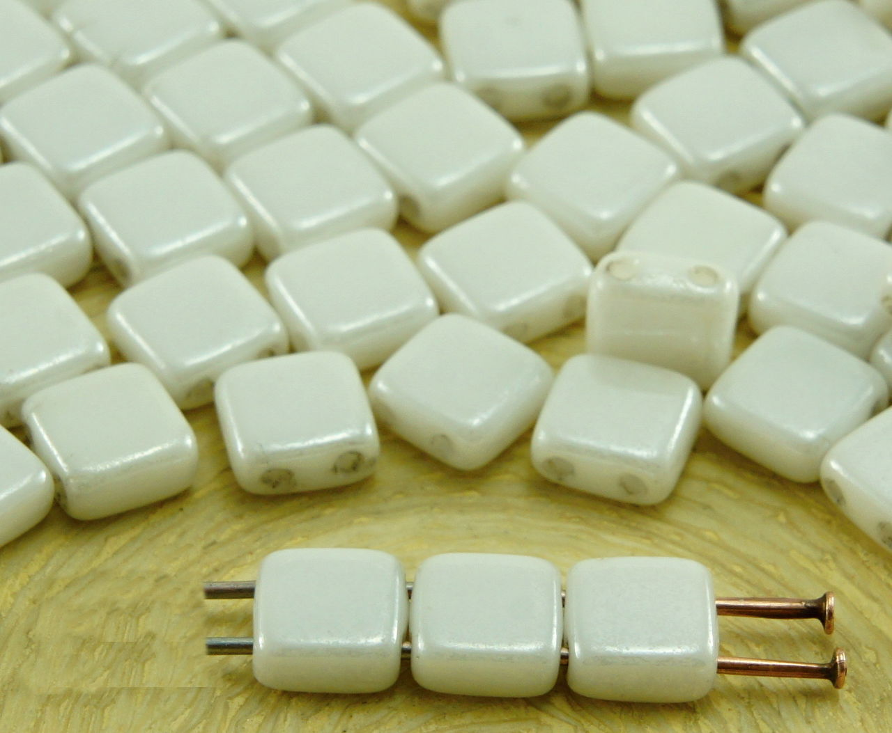 40pcs Luster Tile Flat Square 2 Two Hole Czech Glass Beads 6mm 2
