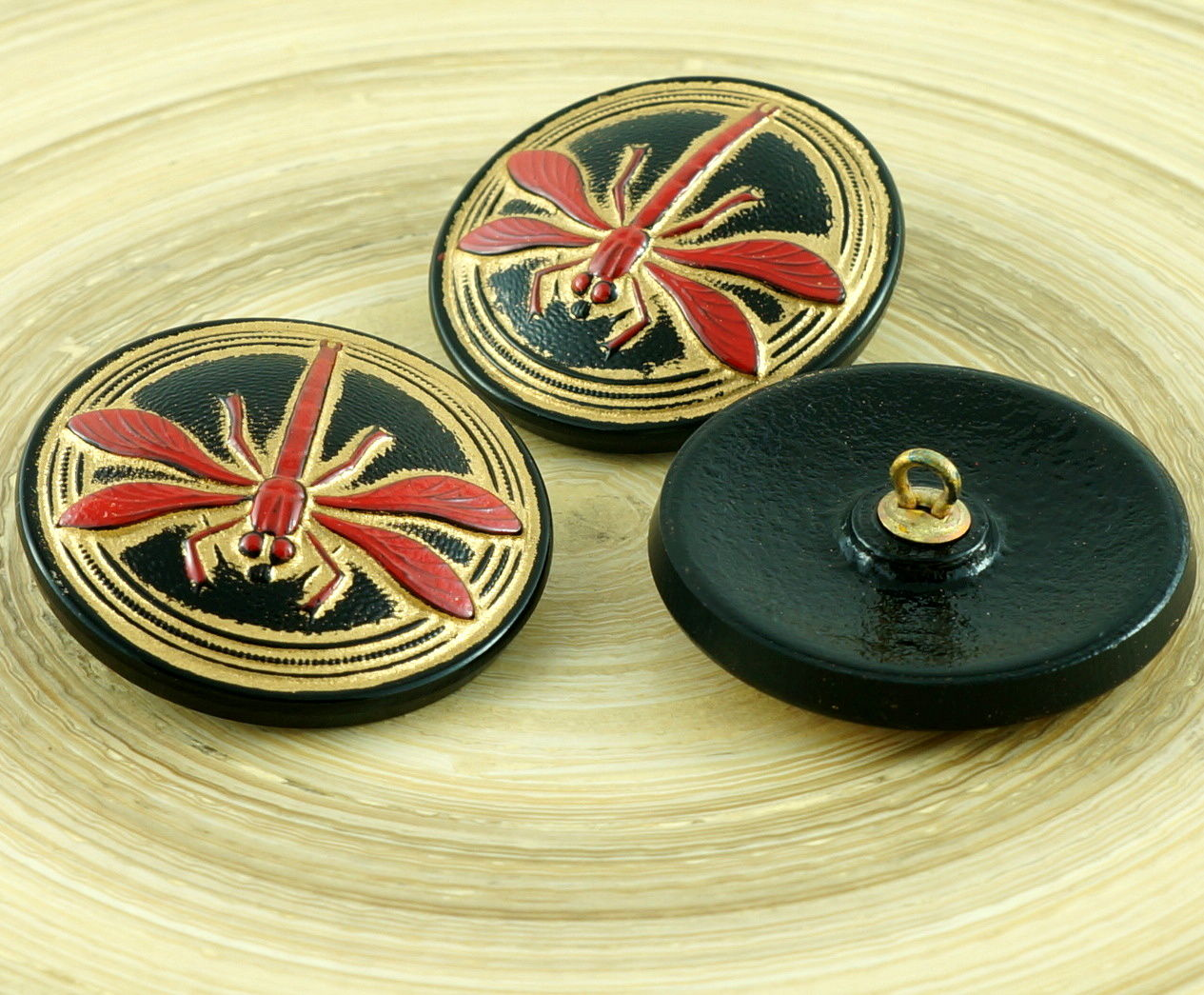 1pc Grand or libellule insecte Handmade CZECH GLASS BUTTON Taille 14 31 mm