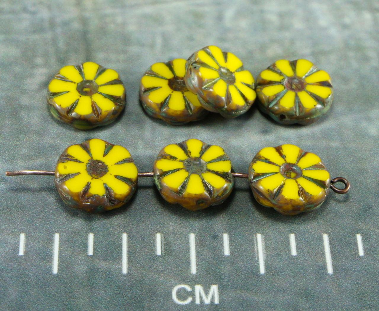 8pcs Picasso Travertine Table Cut Flower Flat Coin Czech Glass Beads 12mm