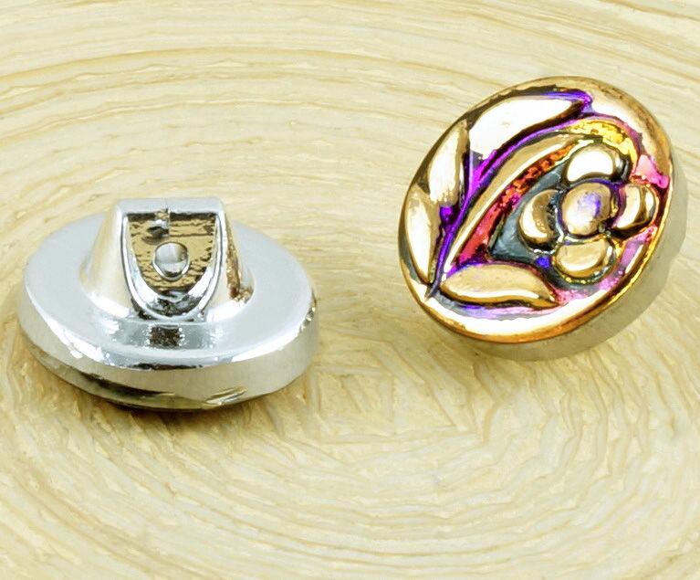 1pc Handmade Czech Glass Button Gold Flower Petal Size 6 13.5mm